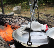 A couldron above an open fire. Stock Photography