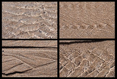 Écoulement de l'eau quatre sur des modèles de sable Image stock