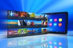 Couler des medias sur le PC de tablette Photo libre de droits