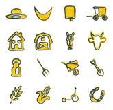 Couleur 2 amish d'icônes à main levée Image libre de droits