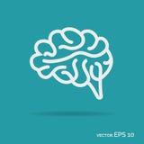 Couleur blanche d'icône d'ensemble de cerveau d'isolement sur le fond Photo libre de droits