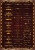 Couleur calligraphique d'or d'éléments de décor d'ensemble gentil illustration stock
