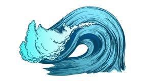 Couleur cassant l'Océan Atlantique Marine Wave Storm Vector illustration stock