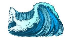 Couleur cassant l'océan pacifique Marine Wave Storm Vector illustration stock