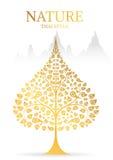 Couleur d'or d'arbre et de feuille de Bodhi de la tradition thaïlandaise illustration stock