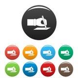 Couleur d'ensemble d'icônes d'élection de signe de main illustration de vecteur