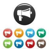 Couleur d'ensemble d'icônes de haut-parleur de main illustration de vecteur