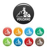 Couleur d'ensemble d'icônes de volcan actif illustration stock