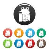 Couleur d'ensemble d'icônes d'hamburger de lait de sac à dos photos libres de droits
