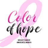 Couleur d'espoir Conception d'affiche de calligraphie de conscience de cancer du sein de vecteur Ruban rose de course Photographie stock