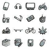 Couleur 2 d'icônes d'adolescent à main levée Images stock