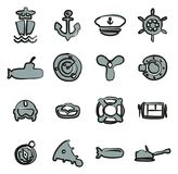 Couleur 2 d'icônes de marine à main levée Photos stock