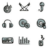 Couleur 2 d'icônes de disco ou de club à main levée Image stock