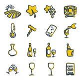 Couleur 2 d'icônes de vin à main levée Photographie stock libre de droits