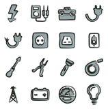 Couleur d'Icons Freehand 2 d'électricien Image libre de droits