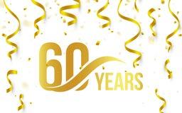 Couleur d'or d'isolement numéro 60 avec l'icône d'années de mot sur le fond blanc avec les confettis d'or et les rubans en baisse Images libres de droits