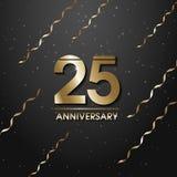 Couleur d'or d'isolement numéro 25 avec l'icône d'années de mot sur le fond noir avec les confettis d'or et les rubans en baisse, illustration stock
