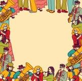 Couleur de bande de musiciens de carte de frontière de vue Photographie stock libre de droits