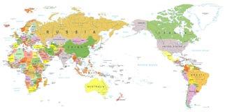 Couleur de carte du monde - Asie au centre illustration libre de droits