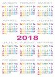 Couleur de détail du CALENDRIER 2018 pour chaque jour de la semaine Images stock