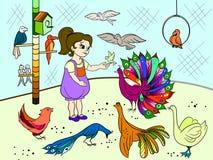 Couleur de la bande dessinée des enfants le zoo d'oiseaux de contact Livre d'images d'oiseau Ornithologie pour la fille Photos stock