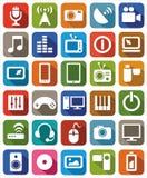 Couleur de media d'icônes Images stock