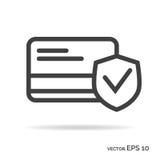 Couleur de noir d'icône d'ensemble de sécurité de carte de visite professionnelle de visite Images stock