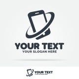 Couleur de noir de logo de Smartphone avec le téléphone de silhouette pour le sho mobile Image libre de droits