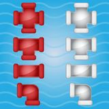Couleur de tuyauterie de tuyaux rouge et icône grise de sucrerie réglée dans différent illustration stock