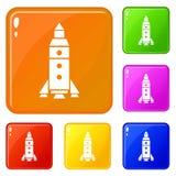 Couleur de vecteur réglée par icônes d'exploration de Rocket illustration de vecteur