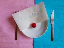 Couleur en pastel minimale de concept de construction de temps de petit déjeuner Photo stock