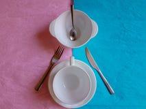 Couleur en pastel minimale de concept de construction de temps de petit déjeuner Photo libre de droits