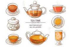 Couleur en verre de service à thé Illustration Stock
