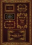 Couleur florale d'or de cadre de décor de cru gentil réglé illustration de vecteur