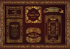 Couleur florale d'or de cadre de décor de cru illustration stock