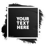 Couleur grunge de noir de texture de bannière d'aquarelle avec le cadre blanc carré Photo stock