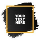 Couleur grunge de noir de texture de bannière d'aquarelle avec le cadre jaune s Photos libres de droits