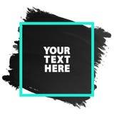 Couleur grunge de noir de texture de bannière d'aquarelle avec le cadre vert carré Photo libre de droits