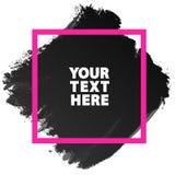 Couleur grunge de noir de texture de bannière d'aquarelle avec le squ rose de cadre Photo libre de droits