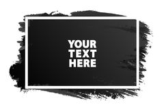 Couleur horizontale de noir d'emplacement de bannière d'aquarelle avec l'ATF blanc Photo stock