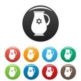 Couleur juive d'ensemble d'icônes de cruche illustration de vecteur