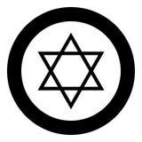 Couleur juive de noir d'icône d'étoile de David en cercle illustration libre de droits