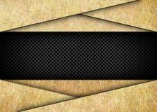 Couleur métallique d'or de fond avec la maille noire illustration stock