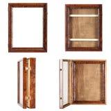 Couleur naturelle de brun foncé - un cadre en bois verni vide image stock