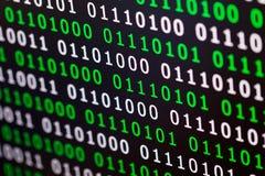 Couleur numérique vert-bleu de code binaire sur le fond noir photo libre de droits
