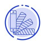 Couleur, palette, Pantone, ligne pointillée bleue ligne icône d'échantillon illustration de vecteur