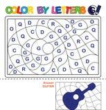 Couleur par courrier Puzzle pour des enfants Guitare Photographie stock libre de droits