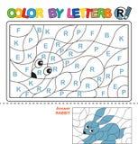 Couleur par courrier Puzzle pour des enfants Lapin Photographie stock