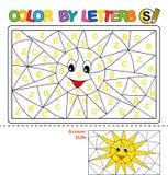 Couleur par courrier Puzzle pour des enfants Sun Photographie stock libre de droits