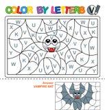 Couleur par des lettres Étude des majuscules de l'alphabet Puzzle pour des enfants Lettre V Batte de vampire Éducation préscolair illustration libre de droits